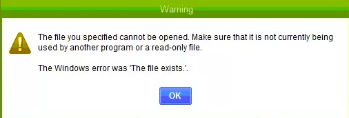 The File You Specified Cannot be Opened